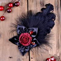 ancient gems - 2015 new arrival The original sole The medieval gothic party photo roll restoring ancient ways feather gem headgear brooch brooches