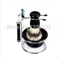 acylic stand - Useful In Men Chrome Kit Plastic ABS Resin Mug Bowl Acylic Brush Dish Stand Shaving Razor Beard Clean Set