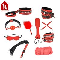 Wholesale Davidsource SLAVE Bondage Pieces Set Handcuffs Ankle Cuffs Gag Blinder Feather Whip Beat X Cross Belt Meters Rope Collar Sex Product