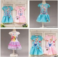 Wholesale 2015 STYLES frozen dresses elsa kids clothing dresses for girl Kid Baby Girl Dress Children Cosplay Costume Party Clothing R916