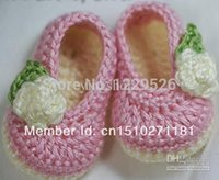 Cheap Wholesale-Fashions! Small pink flowers handmade crochet square mouth shoes shoes online shoes shop baby shoes