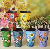 Wholesale Three dimensional applique metal bucket rustic flower barrels home decoration flower modern brief