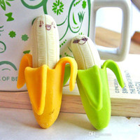 Wholesale 2015 new arrive Promotion Sale New Creative Simulation Banana Eraser Office Supply Rubber Eraser Creative banana eraser can be skinned