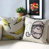 Cheap Retro cartoon pillow cover,Orangutan and bananas Pillow cushion cover, pillow case,sofa cushion home decorative Pillows