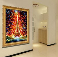 amazing hand painting art - 100 Hand painted High End Amazing Palette Knife Paris Eiffel Tower Painting on Canvas Home Decor Wall Art Picture