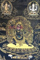 Wholesale Tibetan Buddhist Nepal gold brocade Thangka painting Vajrapani Mahakala Thangka
