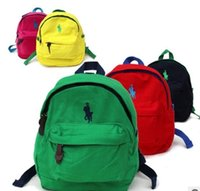 Wholesale color Embroidery polo Children s canvas backpack anti lost POLO cm