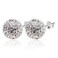 Wholesale Czech crystal sterling silver earrings super flash MM Shambhala ball ornaments earrings