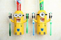 Wholesale Cute minions automatic toothpaste dispenser Squeezer toothbrush holder wall mounted with Brush Cup bathroom accessories set bath on sale