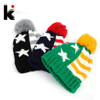 american flag shop - Free shopping autumn and winter fashion American flag pattern ball knitted beanie hats for women and caps gorro for men