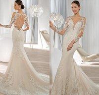 Cheap Exquisite Long Sleeve Mermaid Wedding Dresses 2015 Lace Applique Sequined Covered Button Bridal Gowns Demetrios Bride Dress 2016