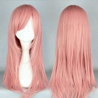 bianchi pink - Women s Anime Bianchi Cosplay Long Pink Straight Syntheric Hair Lolita Party Wig