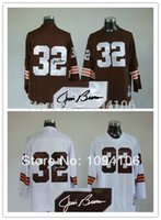 authentic football jerseys cheap - Factory Outlet Jim Signed White Throwback Authentic Old Style Brand Football Jerseys Embroidery logos Cheap Jersey