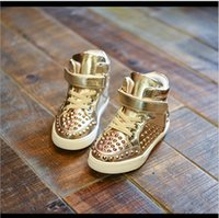 Wholesale Children s high top sneakers size new golden rivet casual shoes for children boys and girls high to help hip hop shoes
