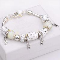 Wholesale style silver glass Beads snake chain Fit Pandora Charm Bracelet For Women Friendship pulseira feminina Braceletes