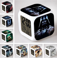 Alarm Clocks action calendar - Star Wars Force Awakening Alarm Digital Desk LED Clock Yoda BB8 Darth Vader Storm Trooper Minifigure Action Toys Clock