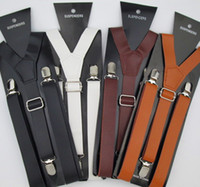 Wholesale BD024 Min pc Fast delivery Hot Fashion colors PU leather suspenders clips on cm men s suspenders