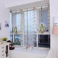 Wholesale Hand Embroidered Floral Shade Sheer Window Shutter Door Room Decoration Curtain