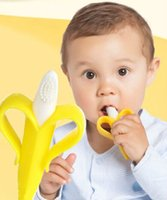 baby tooth brush - Baby Teethers Baby Teething Rings Bite Silicone Banana Toothbrush Without BPA opp bag packing