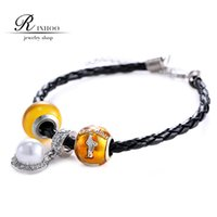 strands of glass beads - RINHOO euramerican style of yellow Transparent glowing murano glass beads DIY hand rope leather alloy crystal pearl bracelet
