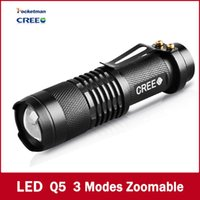 Wholesale 2016 Special Offer lm Led Flashlights Hike Tazer Self Defense Mini Flashlight Three Dimming Gifts Telescopic Zoom Led Lumens