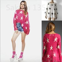 Regular beige knitwear - Fall Wildfox women sweater Fashion Casual O neck Long Sleeve Star Sweaters Pullovers Knitwear Jumper Tricotado