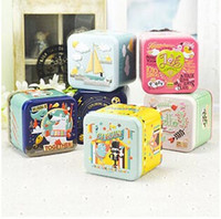 Wholesale Free ship pc Nice cartoon square Iron box food tea tin cans gift metal case