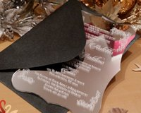 Wholesale 100pcs Clear Luxury Engrave Die cut Acrylic Wedding Invitation Cards Elegant