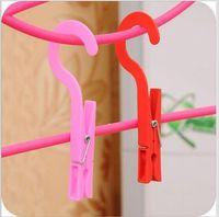 Wholesale 4 Hooked facilitate small clip plastic clothesline socks laundry folder z1344
