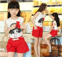 Vêtements pour la famille Mode maman enfants Filles Alikes Vêtements Gilet sans manches Cartoon Top + Red Hot Shorts Pantalons Set 2Pcs Costumes J5012