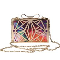 Wholesale 2016 New Fashion Women Handbags Metal Patchwork Shinning Shoulder Bags Ladies Print Day Clutch Wedding Party Evening Bags