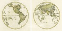 Cheap Hemispherical Map of 1878 Vintage Wall Hanging Frameless Canvas World Old Map Paintings for Home Office Coffee Shop Decor