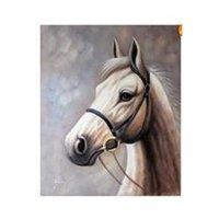 art equine - White Horse Portrait Equine Art Oil On Canvas Painting