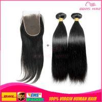 Wholesale Three part lace closure with bundles hair weft Brazilian silk base lace closure virgin remy human hair weaving free DHL UPS