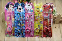 Wholesale 500pcs Kids pencil Set Cartoon Stationery suit Micky Kitty Stationery suit Children gift pens eraser sharpener ruler Study Stationary