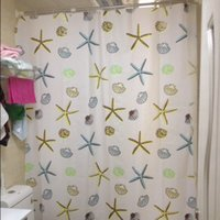 bathroom sets with shower curtain - W180 x H200cm Shower curtain set waterproof thick curtains bathroom curtain fabric belt white colour with starfish
