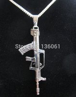 assault rifles accessories - Vintage Silver ASSAULT RIFLE GUN Charms Statement Collar Choker Box Chain Necklaces Pendants DIY Fashion Jewelry Accessories Gifts X706