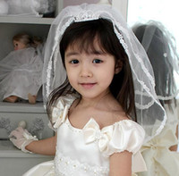 Wholesale Girls special Occasion Head Pieces Hair Clips Latest Sweet Children Kids Wedding Veil Formal Veils Headband Hair Decorations Korean St