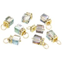 ab pendant - Copper Charm Pendants Cube Gold Plated Clear Rhinestone AB Color Glass Faceted mm quot x mm quot new