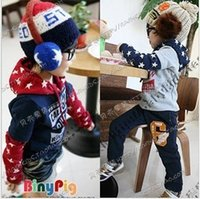 Others baby star fleece - autumn star paragraph faux two piece boys clothing baby fleece with a hood sweatshirt outerwear H0530