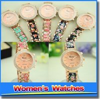 Wholesale Cheap Ceramic Watches Wholesale - Geneva Watches Ceramic Alloy Flower Stamp Fashion Skeleton Cheap Latest Ladies Watches For Women For Gift