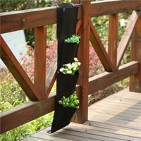 Wholesale Vertical Wall mounted Polyester Flower Grow Bag Wall Planting Bags Four Pockets Indoor Wall Garden Planter Bags