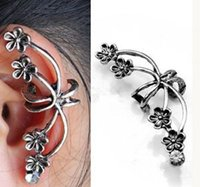 Wholesale Elegant Fashion Women Jewelry Flower Ear Cuff Wrap Clip Earrings Retro Crystal Silver Tone Punk For Sale