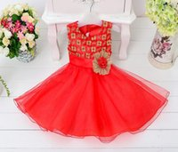 Wholesale new baby flower tutu dress christmas party wear princess dresses for girls kid sequin embroidery wedding dress toddler new years tulle gowns