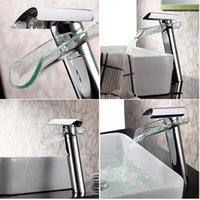 Wholesale Bathroom Sink Faucet Contemporary Glass Spout Single Handle Waterfall Faucet