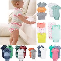 Wholesale 50pcs Baby Boys Girls Bodysuits cotton Rompers Summer Short Sleeve Jumpsuit Clothing Sets Cute Baby Clothes Newborn m m m m Infant