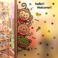 art glass doors - Cute Animals Rabbit Frog Monkey Wall Art Mural Decor Nursery Window Glass Door Wallpaper Decoration Poster Hello Welcome Wall Quote Decal