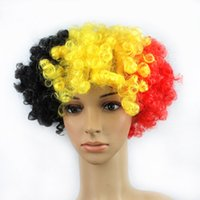 belgium wig - hot sale cheap Polyester black yellow red color Belgium flag fan wig