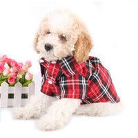 Wholesale Modish Cute Small Pet Cats Jacket Clothes Dog Puppy Plaid T Shirt Lapel Coat New ARRIVE L008
