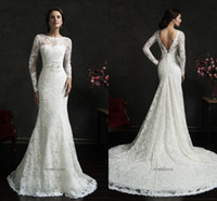 Cheap New Amelia Sposa Lace 2015 Wedding Dresses Bodice Long Sleeve Backless Bridal Gowns Sheer Neck Sexy Formal Wedding Growns AS
